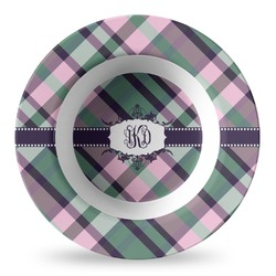 Plaid with Pop Plastic Bowl - Microwave Safe - Composite Polymer (Personalized)