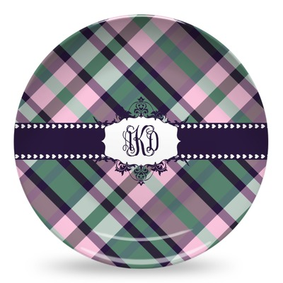 Plaid with Pop Microwave Safe Plastic Plate - Composite Polymer (Personalized)