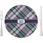 """Plaid with Pop Glass Lunch / Dinner Plates 10"""" - Single or Set (Personalized)"""