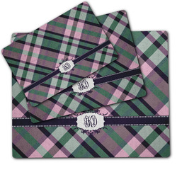 Plaid with Pop Dog Food Mat w/ Monogram