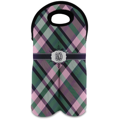 Plaid with Pop Wine Tote Bag (2 Bottles) (Personalized)