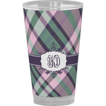 Plaid with Pop Drinking / Pint Glass (Personalized)