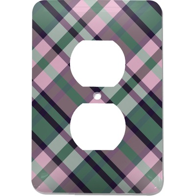 Plaid with Pop Electric Outlet Plate (Personalized)