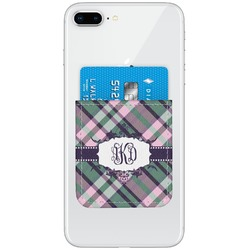 Plaid with Pop Genuine Leather Adhesive Phone Wallet (Personalized)