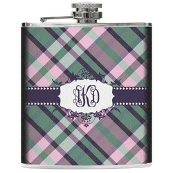 Plaid with Pop Genuine Leather Flask (Personalized)