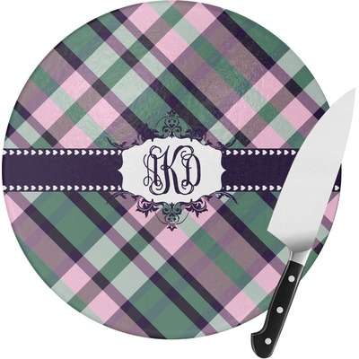 Plaid with Pop Round Glass Cutting Board (Personalized)