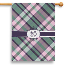 """Plaid with Pop 28"""" House Flag - Double Sided (Personalized)"""