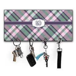 Plaid with Pop Key Hanger w/ 4 Hooks w/ Monogram