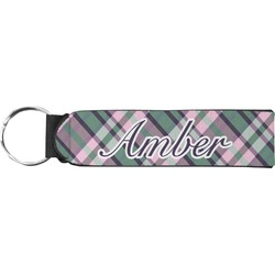 Plaid with Pop Neoprene Keychain Fob (Personalized)