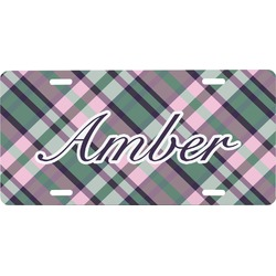 Plaid with Pop Front License Plate (Personalized)