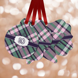Plaid with Pop Metal Ornaments - Double Sided w/ Monogram