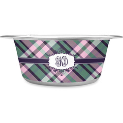 Plaid with Pop Stainless Steel Dog Bowl (Personalized)