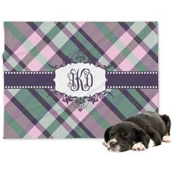 Plaid with Pop Minky Dog Blanket (Personalized)