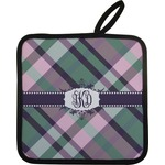 Plaid with Pop Pot Holder w/ Monogram