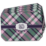 Plaid with Pop Dining Table Mat - Octagon w/ Monogram