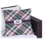 Plaid with Pop Outdoor Pillow (Personalized)