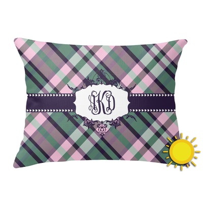 Plaid with Pop Outdoor Throw Pillow (Rectangular) (Personalized)