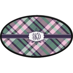 Plaid with Pop Oval Trailer Hitch Cover (Personalized)