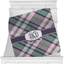 "Plaid with Pop Fleece Blanket - Twin / Full - 80""x60"" - Double Sided (Personalized)"