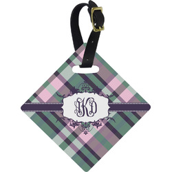 Plaid with Pop Diamond Luggage Tag (Personalized)