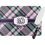 Plaid with Pop Rectangular Glass Cutting Board (Personalized)