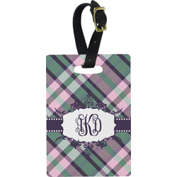 Plaid with Pop Rectangular Luggage Tag (Personalized)
