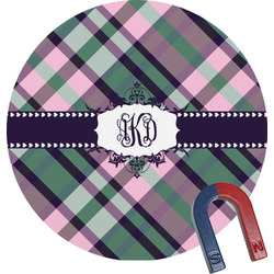 Plaid with Pop Round Magnet (Personalized)