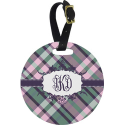 Plaid with Pop Round Luggage Tag (Personalized)