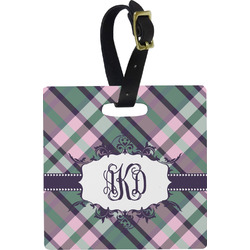 Plaid with Pop Square Luggage Tag (Personalized)