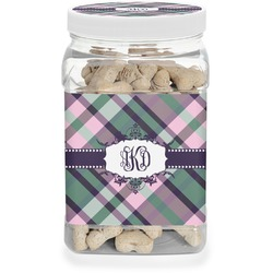 Plaid with Pop Pet Treat Jar (Personalized)