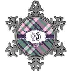 Plaid with Pop Vintage Snowflake Ornament (Personalized)