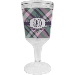 Plaid with Pop Wine Tumbler - 11 oz Plastic (Personalized)