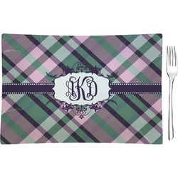 Plaid with Pop Rectangular Glass Appetizer / Dessert Plate - Single or Set (Personalized)