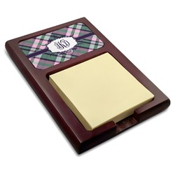 Plaid with Pop Red Mahogany Sticky Note Holder (Personalized)
