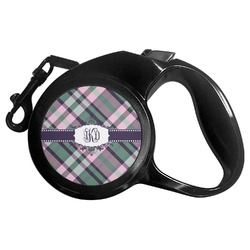 Plaid with Pop Retractable Dog Leash - Multiple Sizes (Personalized)