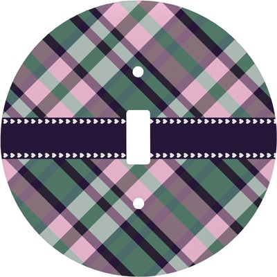 Plaid with Pop Round Light Switch Cover (Personalized)