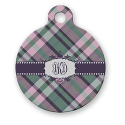 Plaid with Pop Round Pet Tag (Personalized)
