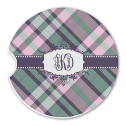 Plaid with Pop Sandstone Car Coaster - Single (Personalized)