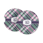 Plaid with Pop Sandstone Car Coasters (Personalized)