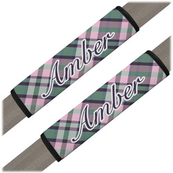 Plaid with Pop Seat Belt Covers (Set of 2) (Personalized)