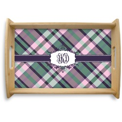 Plaid with Pop Natural Wooden Tray (Personalized)