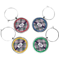 Plaid with Pop Wine Charms (Set of 4) (Personalized)
