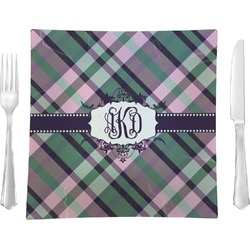"Plaid with Pop Glass Square Lunch / Dinner Plate 9.5"" - Single or Set of 4 (Personalized)"