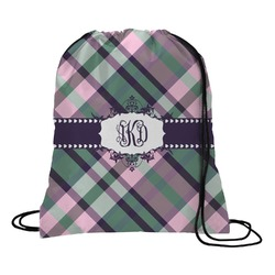 Plaid with Pop Drawstring Backpack - Large (Personalized)