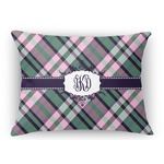 Plaid with Pop Rectangular Throw Pillow Case (Personalized)