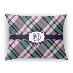 Plaid with Pop Rectangular Throw Pillow (Personalized)