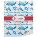 Dolphins Sherpa Throw Blanket (Personalized)
