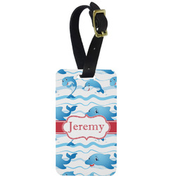 Dolphins Metal Luggage Tag w/ Name or Text