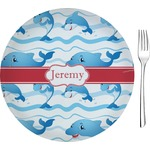 """Dolphins Glass Appetizer / Dessert Plates 8"""" - Single or Set (Personalized)"""