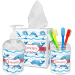 Dolphins Acrylic Bathroom Accessories Set w/ Name or Text